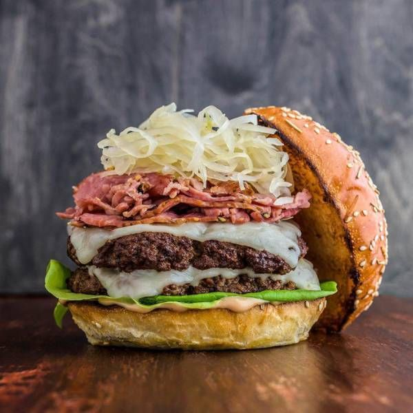 double smoked meat and coleslaw cheese burger, food porn