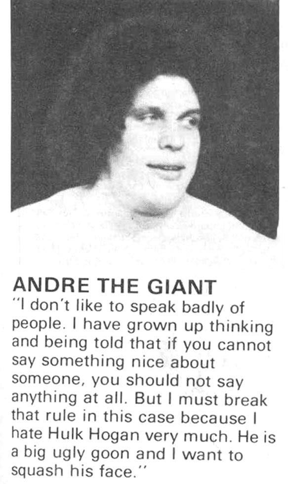 friendly and polite andre the giant talking about hulk hogan