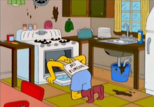 moe sizlak from the simpsons trying to commit suicide in the oven, no funeral