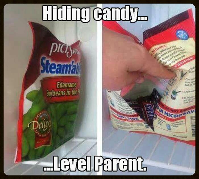 hiding candy... level parent, mars bars in vegetable bag