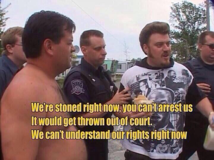 we're stoned right now you can't arrest us, it would get thrown out of court, we can't understand our rights right now, trailer park boys