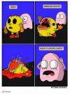 pacman gets touched by a ghost and oh god, comic
