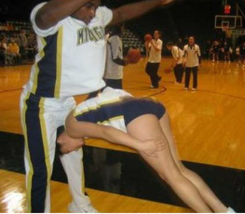 look ma no hands, cheerleader about to face plant
