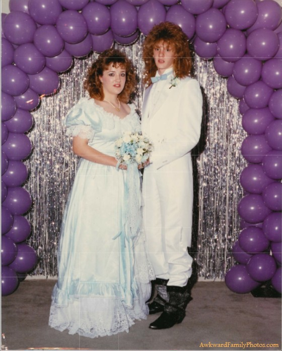 worst prom photo ever, mullet and black cowboys boots, poorly dressed