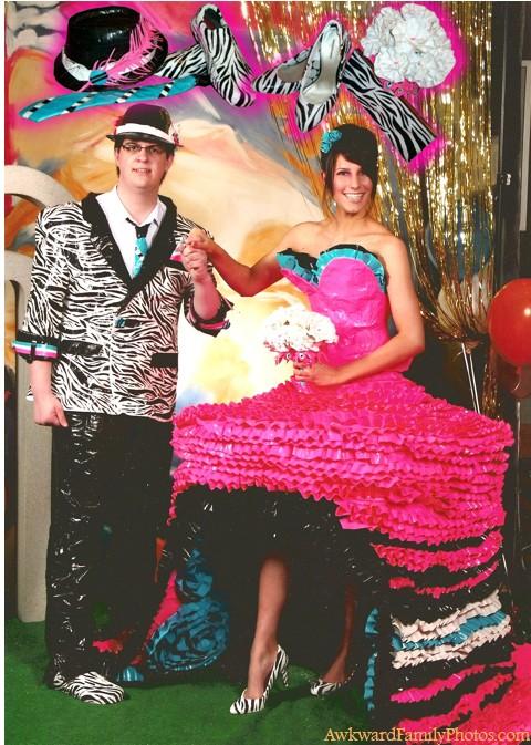 worst prom attire ever, zebra print jacket and huge spanish streamer dress, poorly dressed, wtf