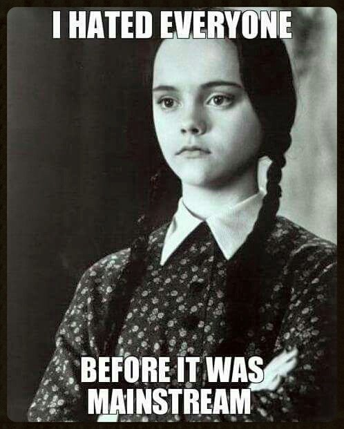 i hated everyone before it was mainstream, wednesday adams, meme