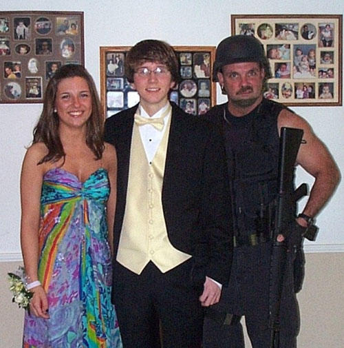 when accidents happen, prom photo with gun totting father