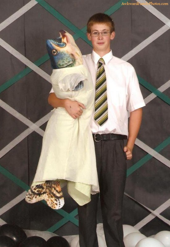when you go to prom with a real catch, fish in a dress at prom, wtf