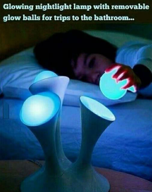glowing nightlight lamp with removable glow balls for trips to the bathroom