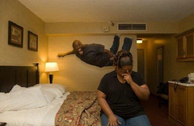 jumping on the beds in a hotel room, embarrassment, timing