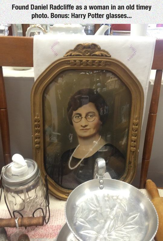 found daniel radcliffe as a woman in an old times photo, bonus harry potter glasses
