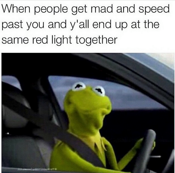 when people get mad and speed past you and y'all end up at the same red light together, kermit the frog staring from a car