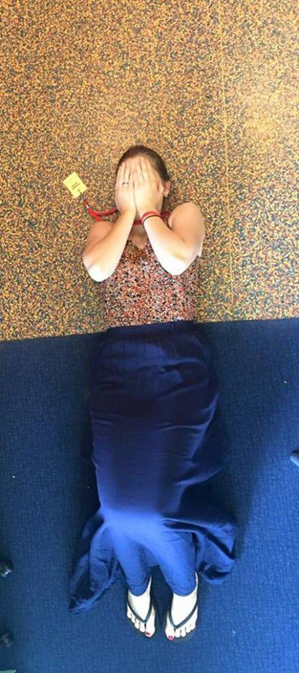 when you are wearing the same thing a the floor, poorly dressed, coincidence
