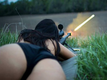 the perfect perspective for a perfect shot, gun firing with bullet streaking