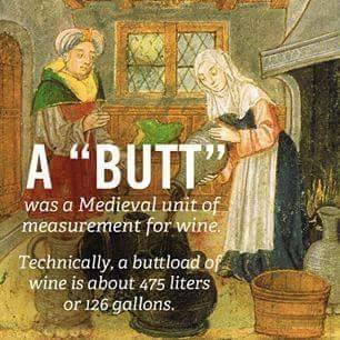 a butt was a medieval unit of measurement, technically a buttload of wine is about 475 litres or 126 galons