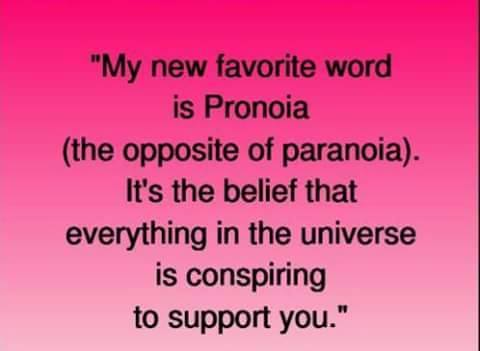 my new favorite word is pronaia, the oppose of paranoia, it's the belief that everything in the universe is conspiring to support you
