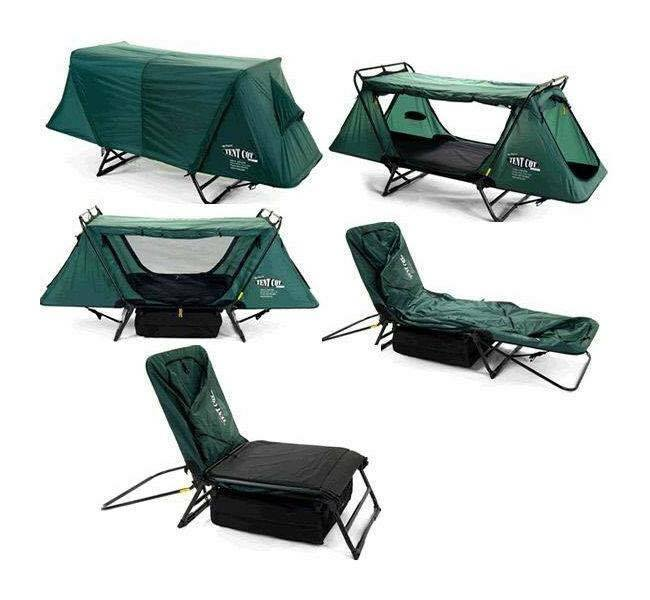 the amazing camping transformer turns into a chair, a cot and a one person tent
