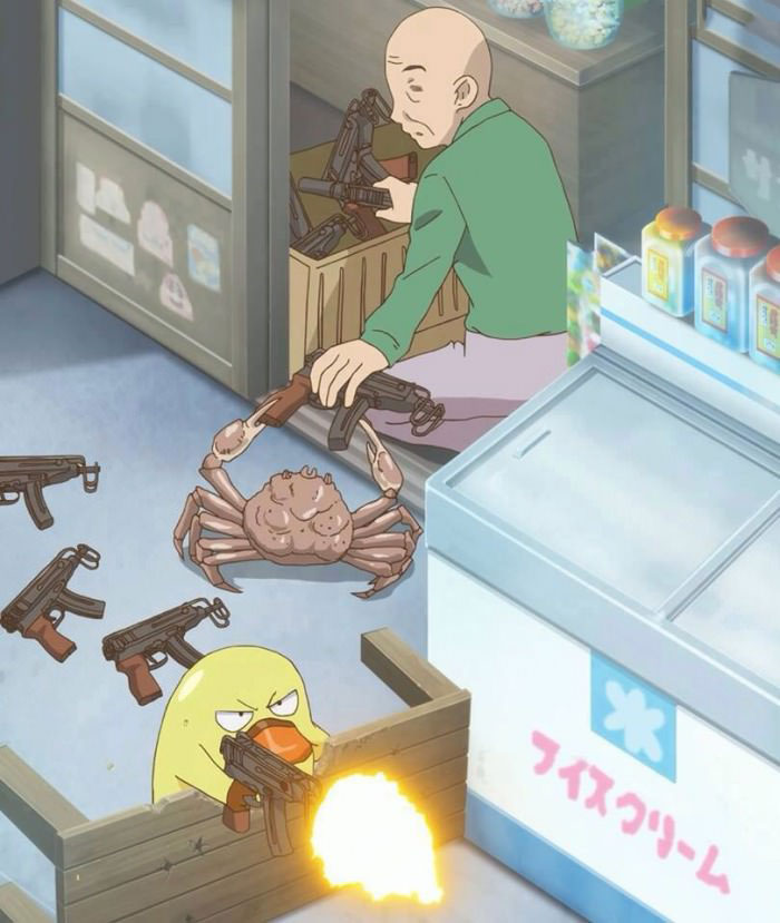 i don't know what's going on in this photo but i want in, man giving crab a machine gun, cartoon, wtf