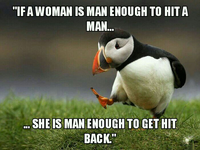 if a woman is man enough to hit a man, she is man enough to get hit back, unpopular opinion puffin, meme