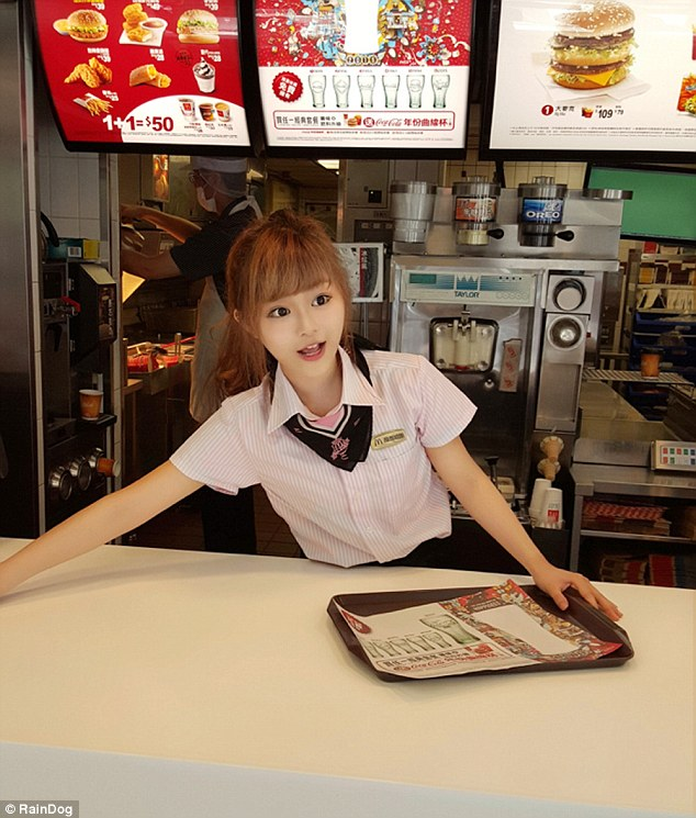 is this mcdonald's most attractive worker - or the weirdest?, fans flock to fast-food chain in taiwan just to see 'goddess' waitress with doll-like features