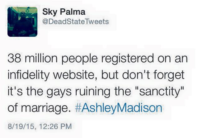 38 million people registered on an infidelity site, but don't forget it's the gays ruining the sanctity of marriage