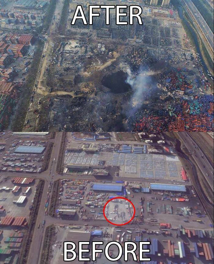 the tianjin blast crater after the epic explosion