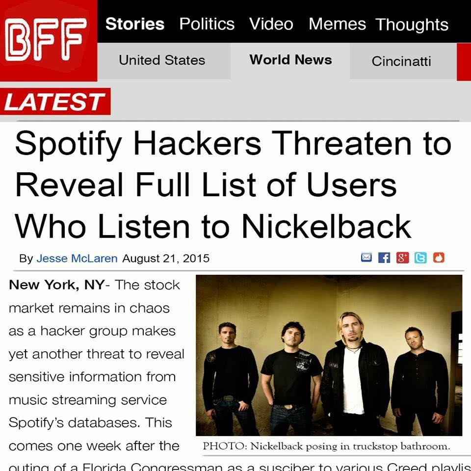 spotify hackers threaten to reveal full list of user who listen to nickleback
