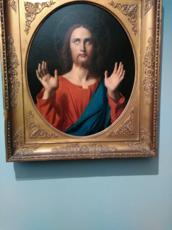 old painting of person with hands in air saying whatever