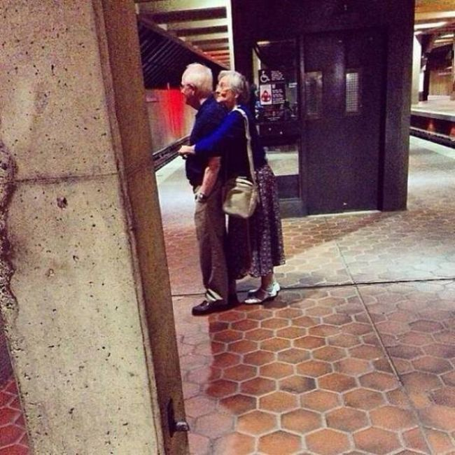 when they do actually live happily ever after, old lady hugging husband from behind
