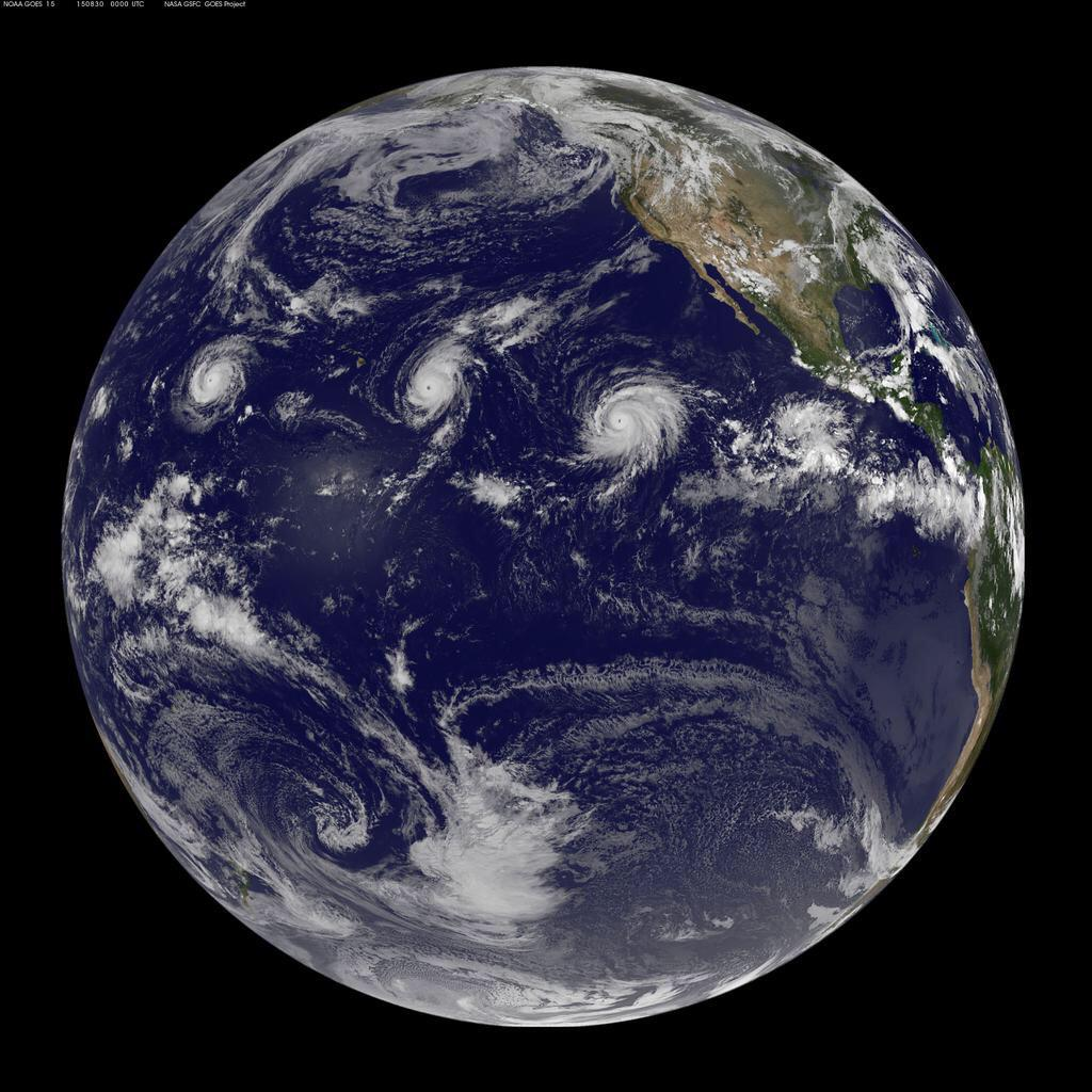 for the first time in recorded history three category 4 hurricanes can be seen in the eastern pacific