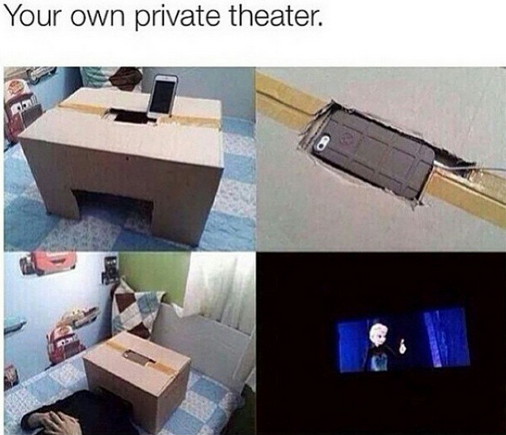 your own private theatre, smartphone and cardboard box make for a great bed theatre