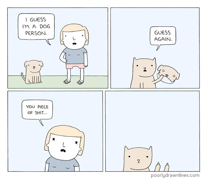 i guess i'm a dog person, guess again, comic
