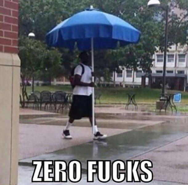zero fucks, guy walking in rain with parasol, wtf, meme