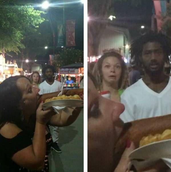 reaction to lady eating giant hot dog, photobomb