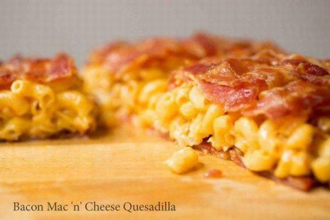 bacon mac'n'cheese quesadilla, food porn