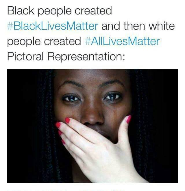 black people created #blacklivesmatter and then white people created #alllivesmatter, pictorial representation, white hand covering black mouth