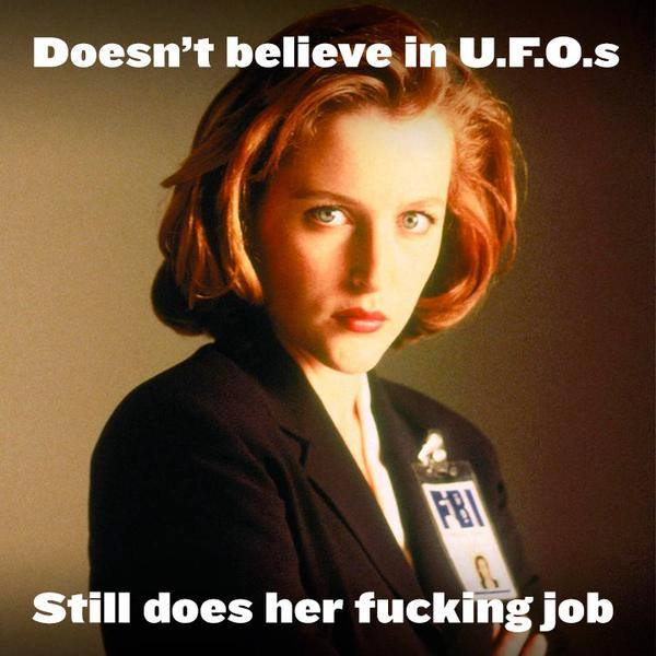 doesn't believe in ufo's, still does her fucking job, meme, scully from the x-files