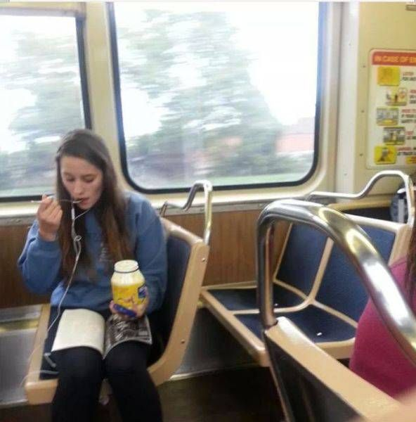 eating yogurt out of a mayo container on public transportation will be sure to turn some heads