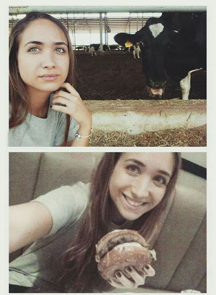 best friends forever, girl posing with a cow and then a hamburger