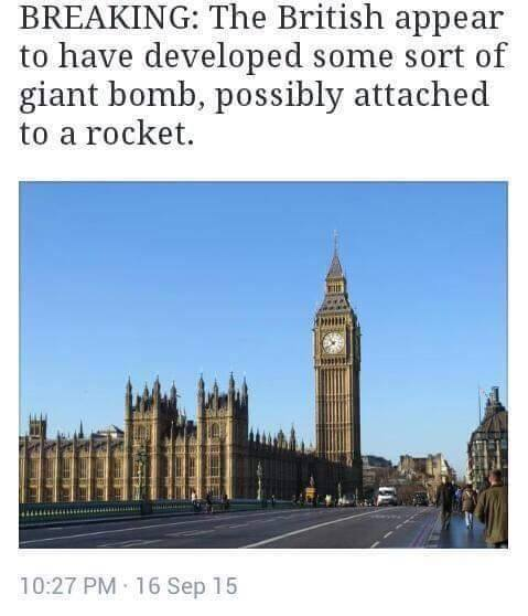 the british appear to have developed some sort of giant bomb, possibly attached to a rocket