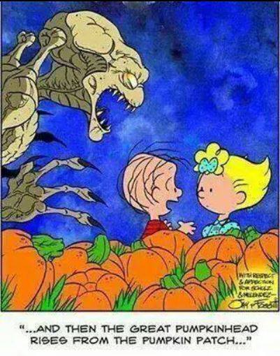 and then the great pumpkin rose from the pumpkin patch, peanuts, monster