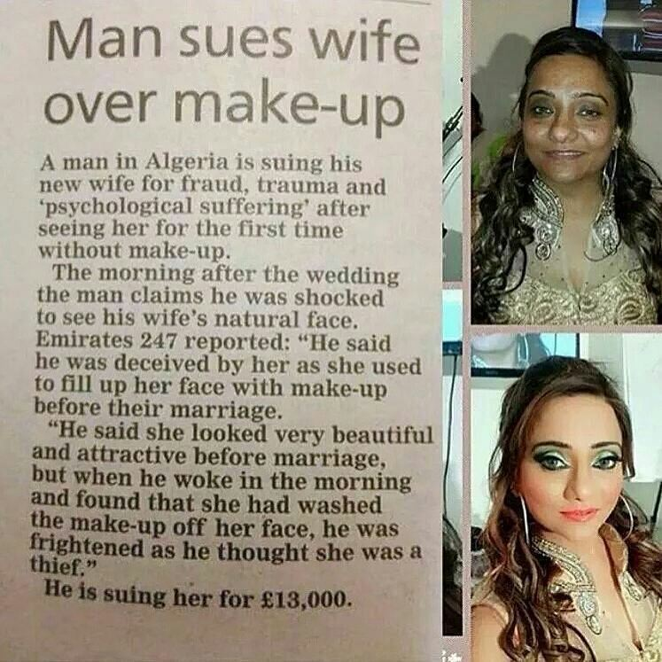 man sues wife over make-up