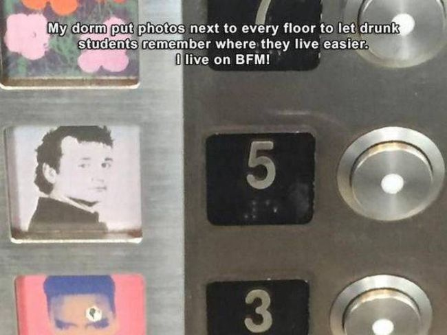 my dorm put photos next to every floor to let drunk students remember where they live easier, i live on bfm