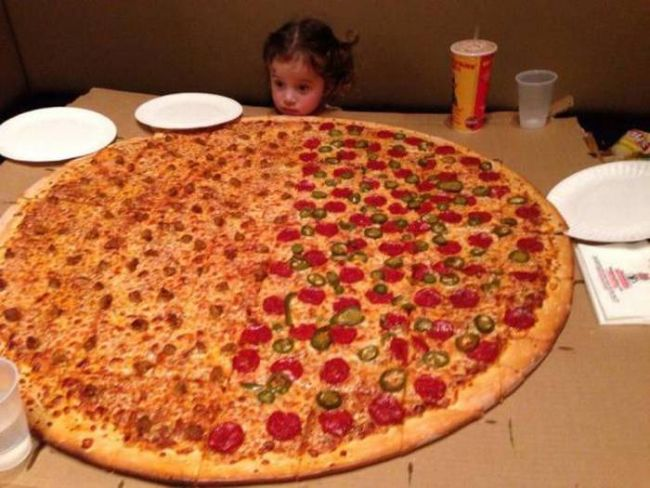 little girl giant pizza