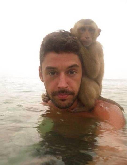 monkey standing on shoulders of man in water