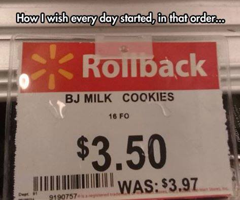 how i wish every day started in that order, bj milk and cookies
