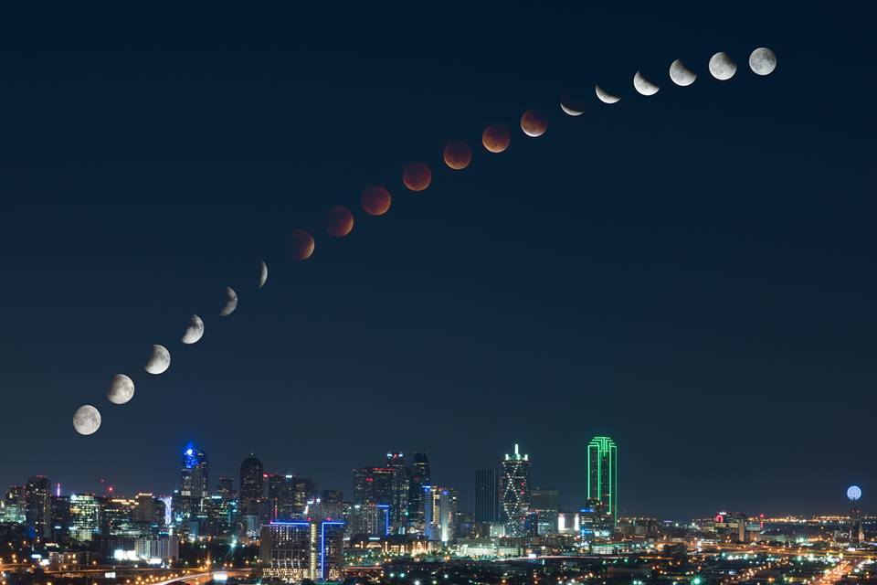 composite image showing the moons transition from full moon over downtown dallas texas