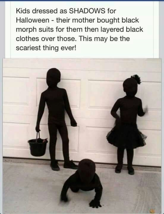 kids dressed as shadows for halloween