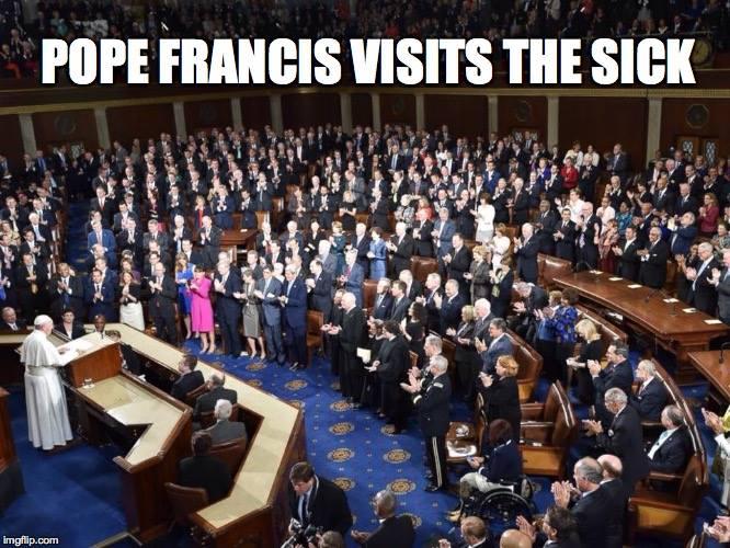 pope francis visits the sick, meme