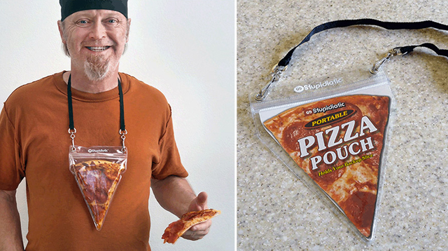 the portable pizza pouch, wear a real pizza slice like a necklace!!